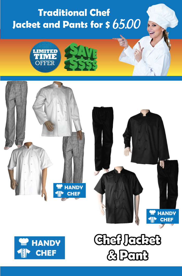 Traditional chef jackets pants pack specials, combination set package